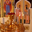 Altar and icon-lamp — Stock Photo