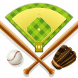 Stock Vector: Baseball inventory and playground