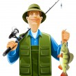 Fisherman with fish — Imagen vectorial
