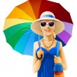 Girl in hat with umbrella — Stock Vector