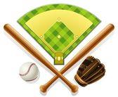 Aire de jeux et de l'inventaire de baseball — Vecteur