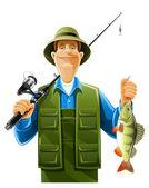 Pescador con pescado — Vector de stock