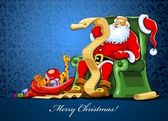 Santa claus sitting in chair with sack of gift — Vetor de Stock
