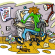 Hacker working on computer in jumble room - Stock Vector