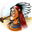 Indian chief smoking tube - Stock Vector