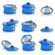 Stock Vector: Set of pans with lid