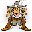 Stock Vector: Western cowboy bandit with gun