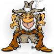 Western cowboy bandit with gun - Stock Vector