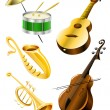 Stock Vector: Drum, guitar, tramble, sax, kontrabas music instruments