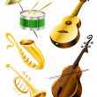 Drum, guitar, tramble, sax, kontrabas music instruments - Stock Vector