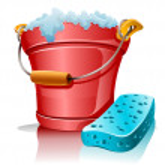 Bucket with foam and bath sponge — Stock Vector #5871582
