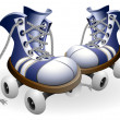 Royalty-Free Stock Vector Image: Blue roller skates with untied lace