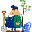 Gardener with spade watering can and tree — Stock Vector