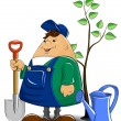 Gardener with spade watering can and tree - Stock Vector