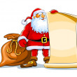 Santa claus stand and keep scroll paper