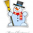 Sticker with smiling snowman in top hat broom - Stock Vector
