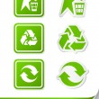 Stock Vector: Set recycling sign icon sticker