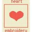 Embroidery with heart and frame — Image vectorielle