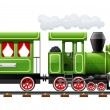 Stock Vector: Green retro locomotive with coach