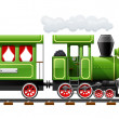 Green retro locomotive with coach — Vettoriali Stock