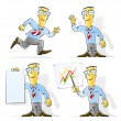 Stock vektor: Set of cartoon businessman