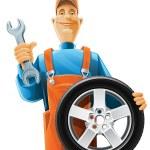 Автомеханик с колесом — Cтоковый вектор