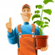Gardener with plant in flowerpot — Stock Vector #5873640