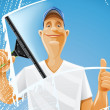 Man cleaning window squeegee spray - Imagen vectorial