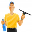 Man cleaning window squeegee spray — Stock Vector #5874769