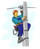 Electrician on a pylon — Stock Vector