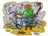 Hacker working on computer in jumble room — Stock Vector