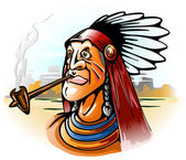 Indian chief smoking tube — Stock Vector