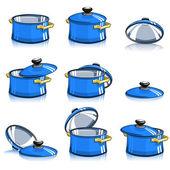 Ensemble de casseroles avec couvercle — Vecteur