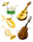 Drum, guitar, tramble, sax, kontrabas music instruments — Vetor de Stock