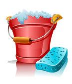 Bucket with foam and bath sponge — Stock Vector