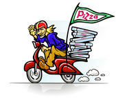 Boy delivering pizza on scooter — Stock Vector