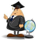 Professor in cloak with globe — Stock Vector