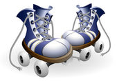 Blue roller skates with untied lace — Stockvector