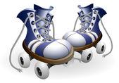 Bugüne kadar untied dantel ile mavi tekerlekli paten — Stok Vektör
