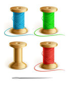 Set reel with thread and needle — Vetor de Stock
