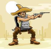 Mexican bandit with gun in prairie — Stock Vector