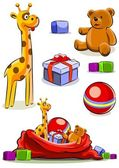 Set toy with bag for christmas — Stock Vector