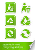 Set recycling sign icon sticker — Stock Vector