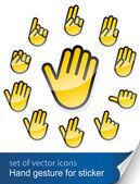 Gest dłoni na naklejki — Wektor stockowy