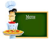 Cook with pizza and menu — Stock Vector