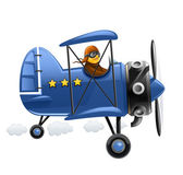 Blue airplane with pilot — Stock Vector