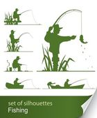 Silhouette of fisherman — Stockvector