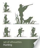 Silhouette of hunter — Stock Vector