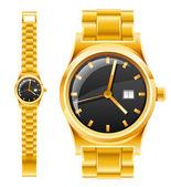 Golden watch with bracelet — Stock Vector