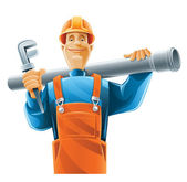 Technicien sanitaire avec tube — Vecteur